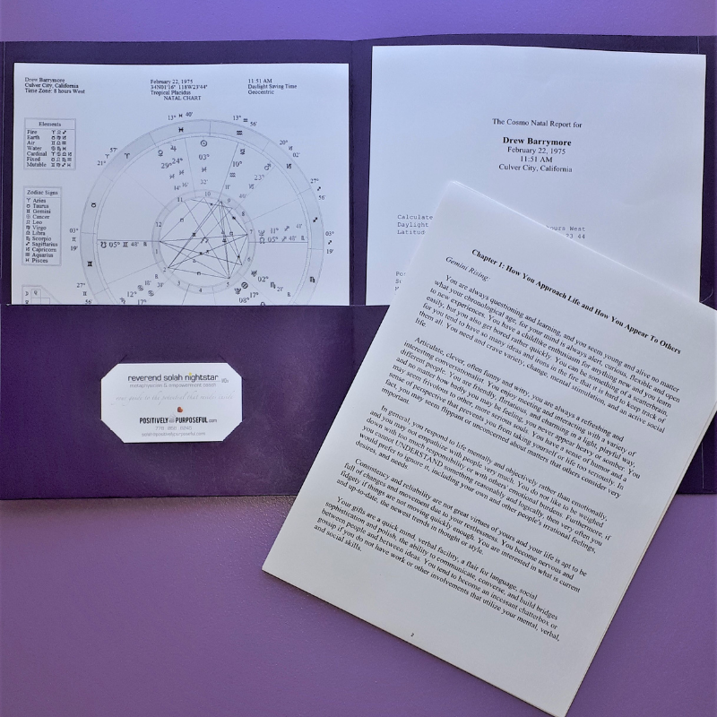 Baby & Child Astrology Chart package - printed - Natal Wheel & Interpretive Report