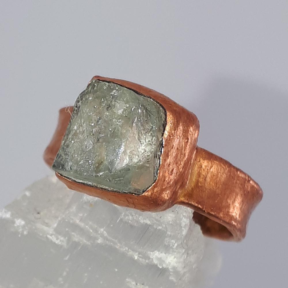 aquamarine & copper squarish ring