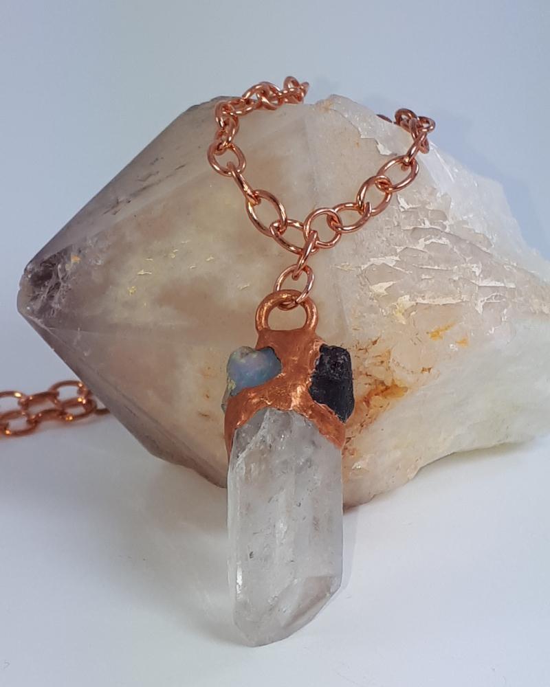 quartz opal ruby necklace