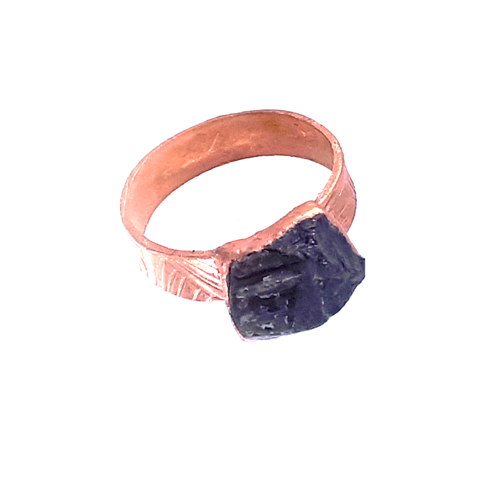 raw black tourmaline copper ring